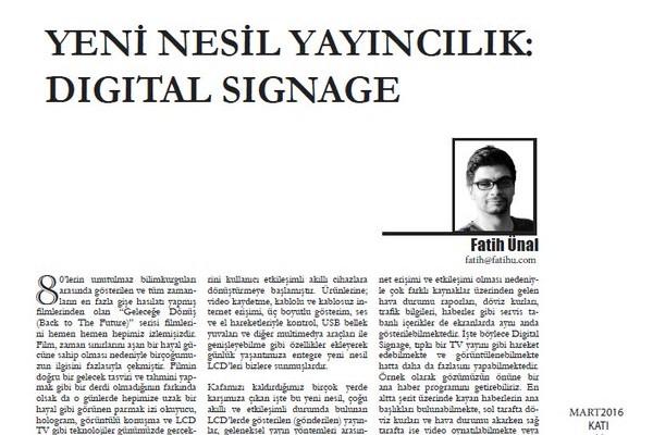 Yeni Nesil Yayıncılık: Digital Signage (Katı Dergi, Mart 2016)